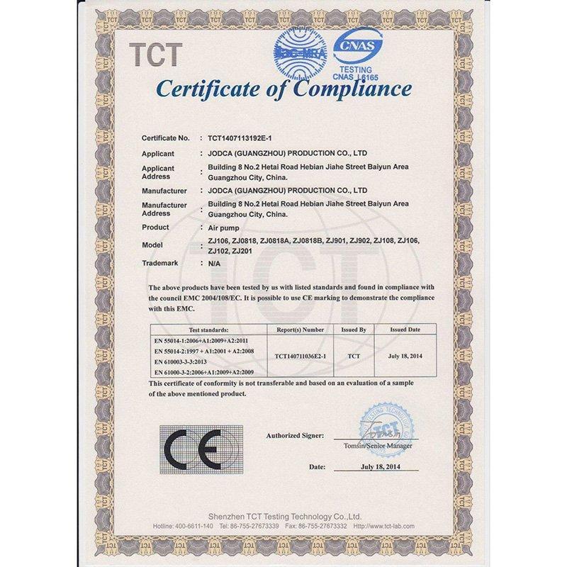 Air Pump CE Certificate -2