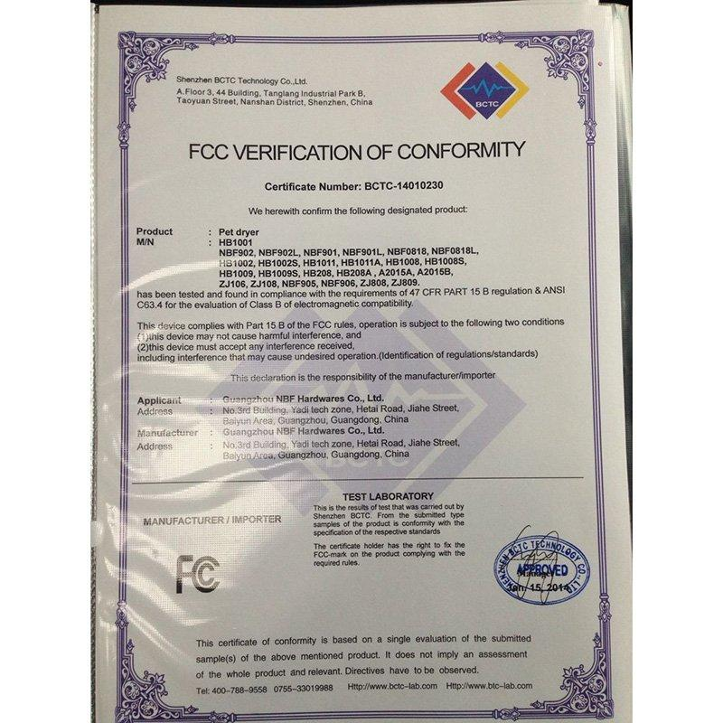 Air Pump FCC Certificate -4