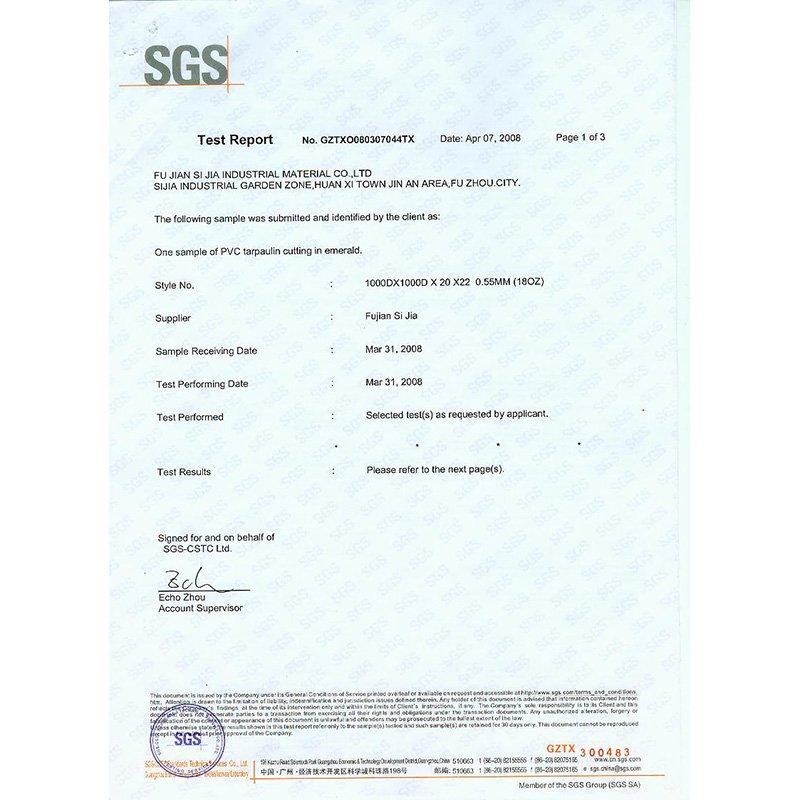 SGS certificate of the material
