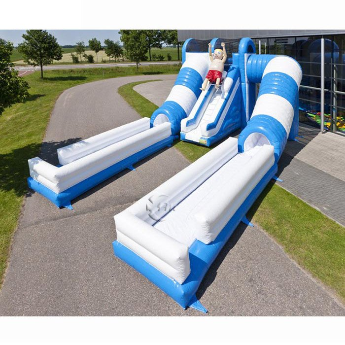 inflatable double slip and slide with pool