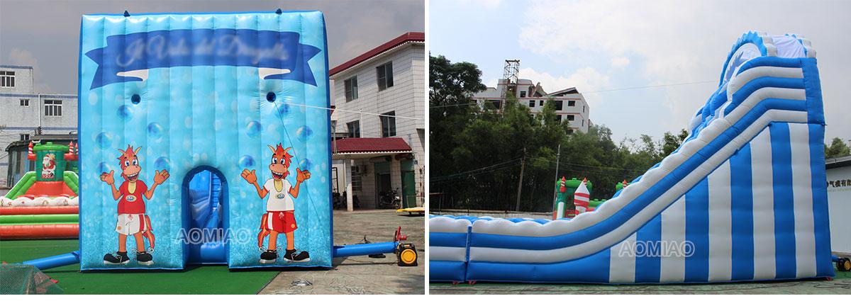 giant inflatable zip line slide