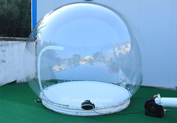 clear christmas blow up snow globe