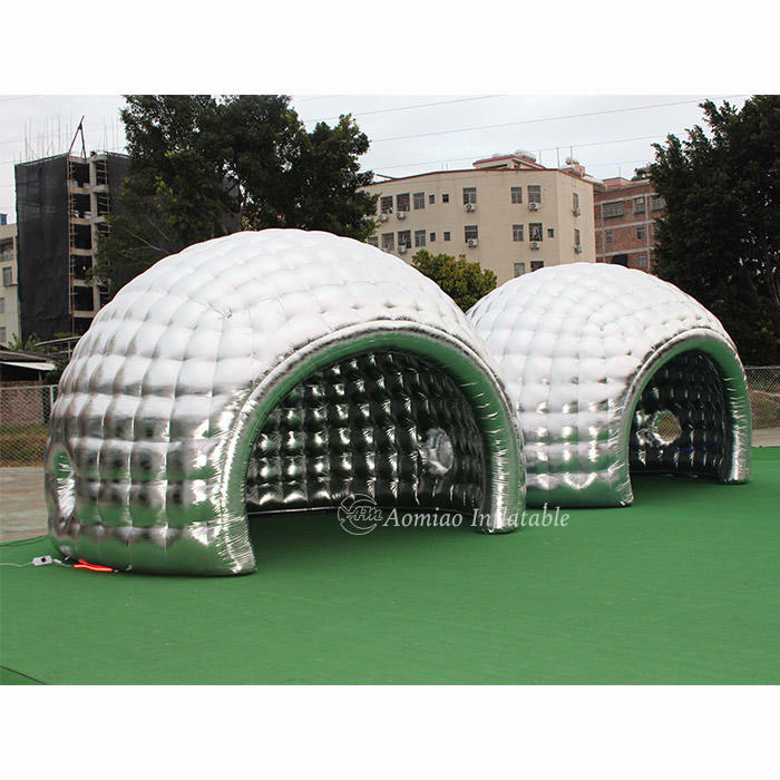 LED Outdoor Silver Inflatable Dome Camping Tent For Sale