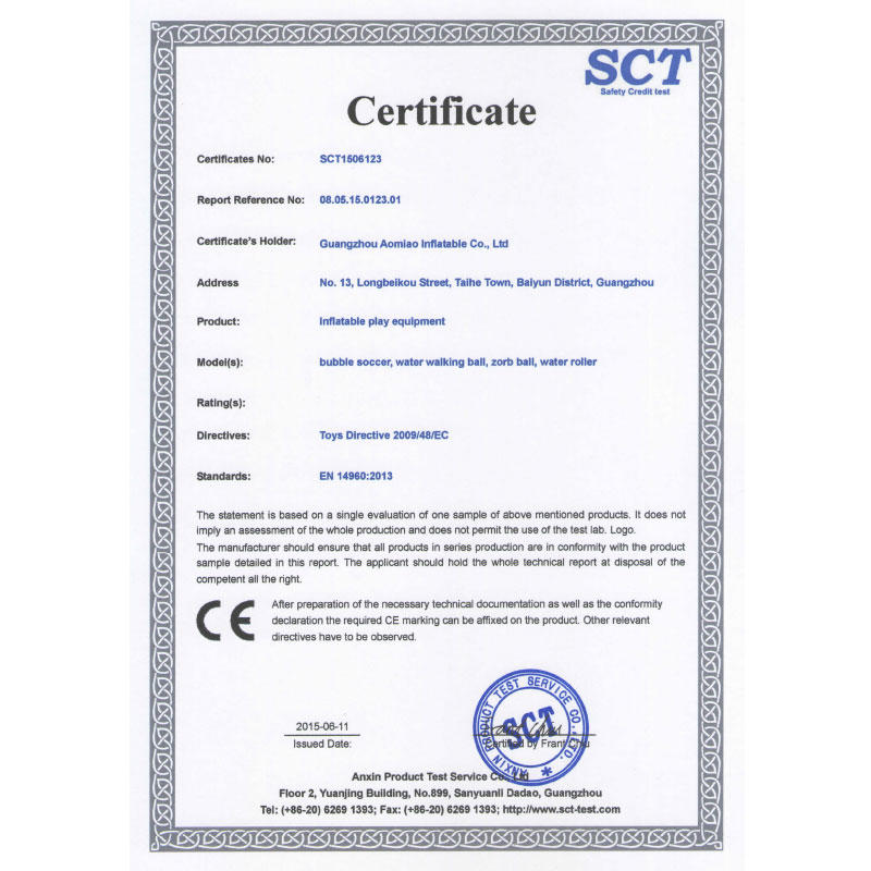 Aomiao Inflatable Products' CE Certificate -2