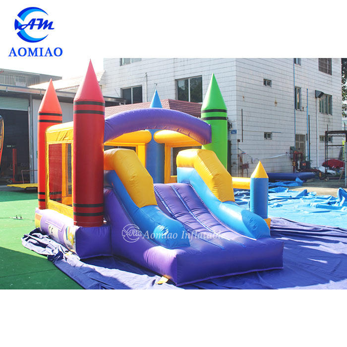 Kids Crayon Bounce House With Basketball Hoop