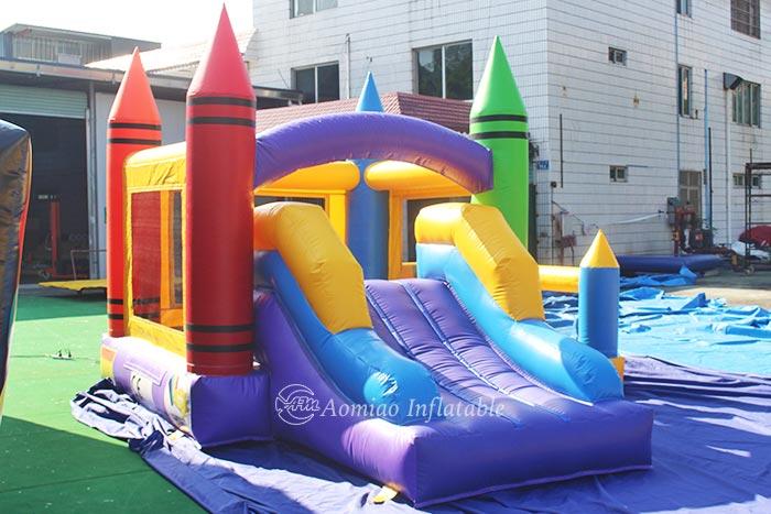 Kids Crayon Bounce House With Basketball Hoop