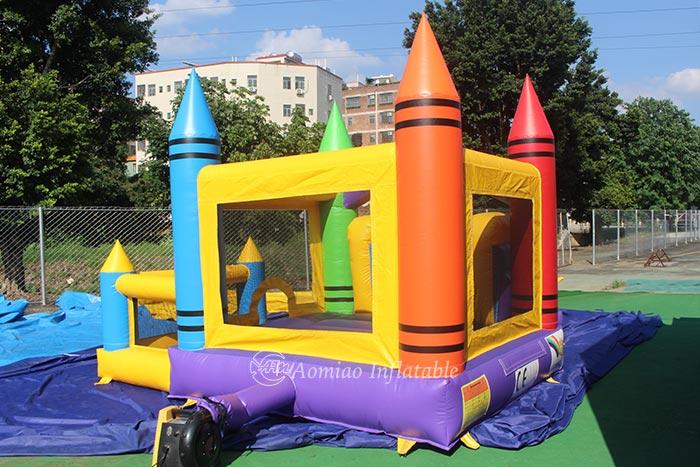 Crayon Bounce House With Basketball Hoop