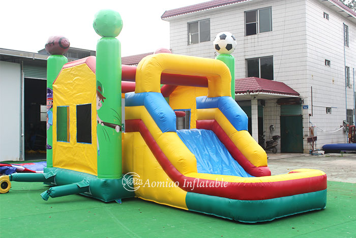 bounce house with slide and pool