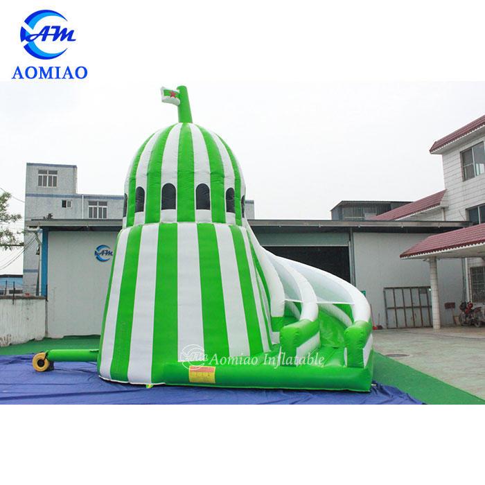 Green Corkscrew Inflatable Castle Slide