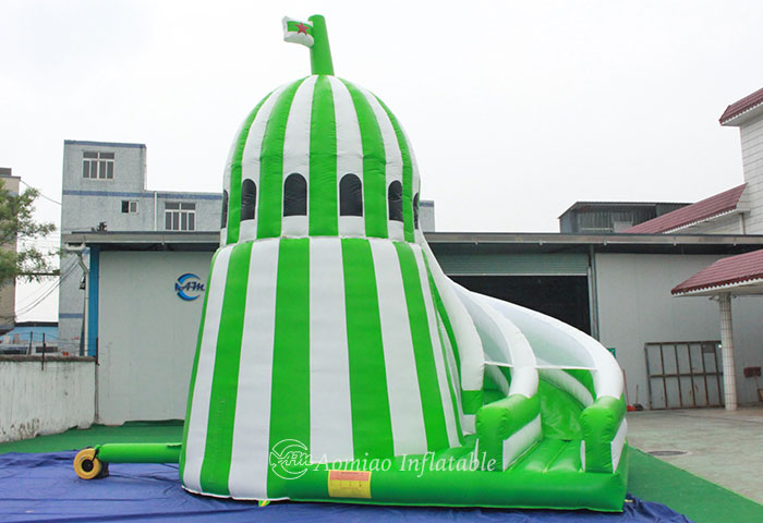 Green Corkscrew Inflatable Castle Slide