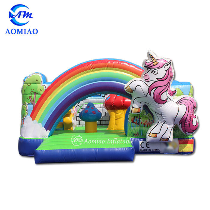 Rainbow Mushroom Unicorn Bouncy Castle Fun City